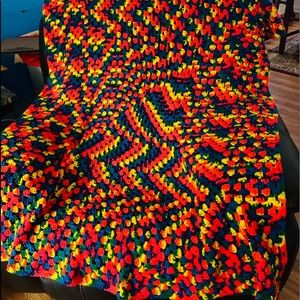 Throw Crochet Blanket Multi- Color